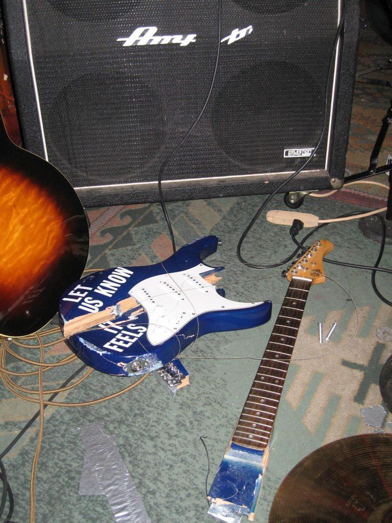 Broken Gear before a music gig